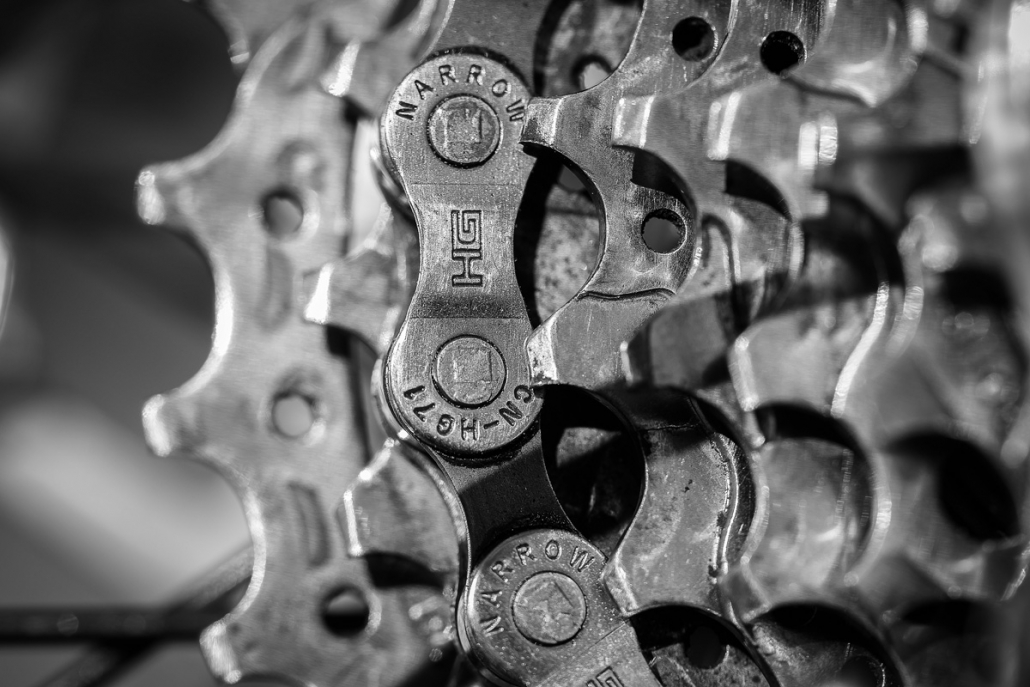 Bicycle chain and cassette.